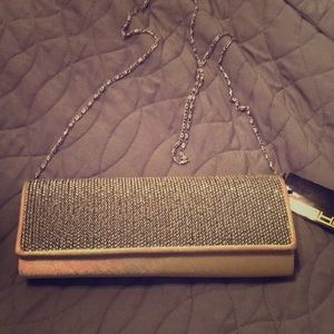 Gold satin sequined clutch purse